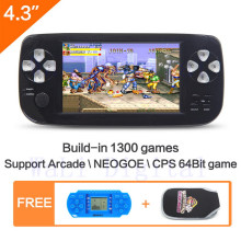 4.3 polegada Handheld Video Game jogo de Console construir em 1300 no-repeat para NEOGEO  CPS  GBA  GBC  GB  SFC  FC  MD  GG  SMS MP3/4 DV PDF