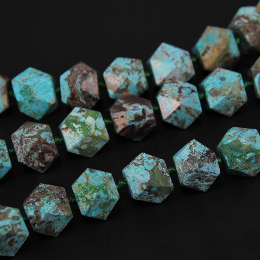 Ограненные бусины самородки незакрепленные небесно голубые камни