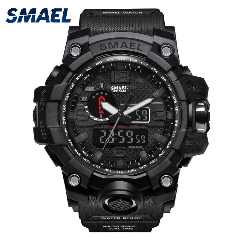 SMAELนาฬิกาผู้ชายกีฬานาฬิกานาฬิกาชายทหาร2017แบรนด์หรูสีดำrelógio 1545 masculino LEDนาฬิกาดิจิตอลกันน้ำ