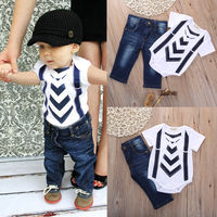 Summer Infant Baby Boy Girl Kids Clothes T Shirt Tops Jeans Pants Sets Outfit 0 24Month