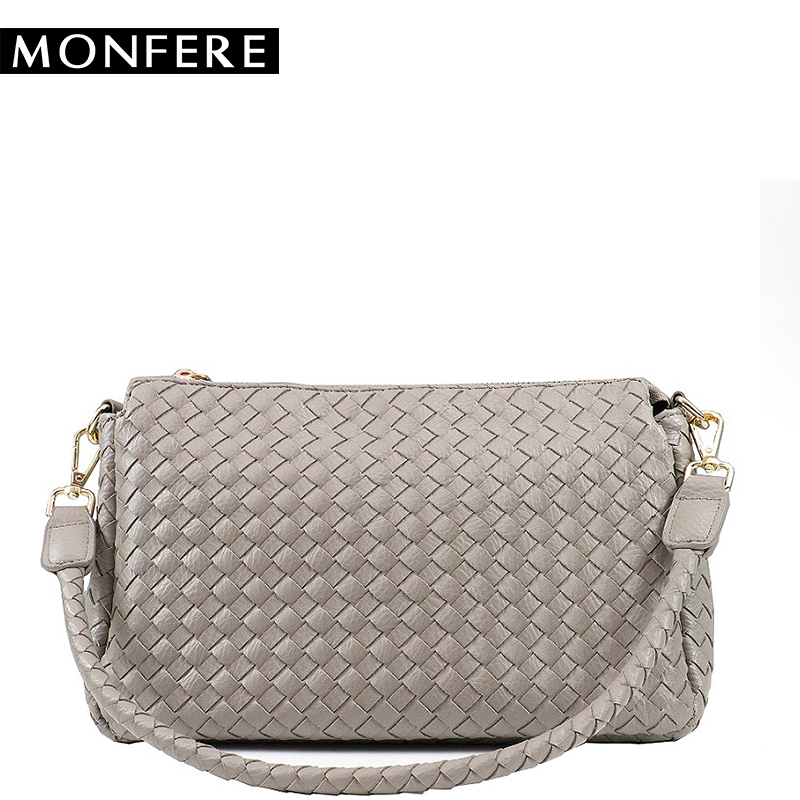 MONFERE Women Shoulder Bag Designer Handbags High Quality Woven PU Leather Ladies Messenger Bag Fashion Crossbody Bags 2 Straps