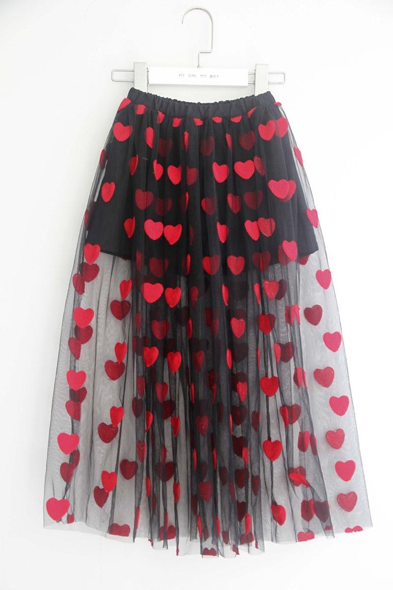 ba4d30671e embroidery heart pattern teenage skirt for girls summer 2018 maxi long mesh  tulle black toddler girl skirts children with shorts 5 6 7 8 9 10 11 12 13  14 15 ...