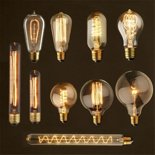 Retro lamp ST64 G80 G95 Vintage Edison Light E27 incandescent bulb 110V 220V holiday lights 40W filament lamp for home decor