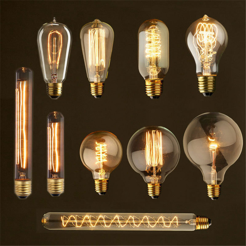 Retro lamp ST64 G80 G95 Vintage Edison Light E27 incandescent bulb 110V 220V holiday lights 40W filament lamp for home decor