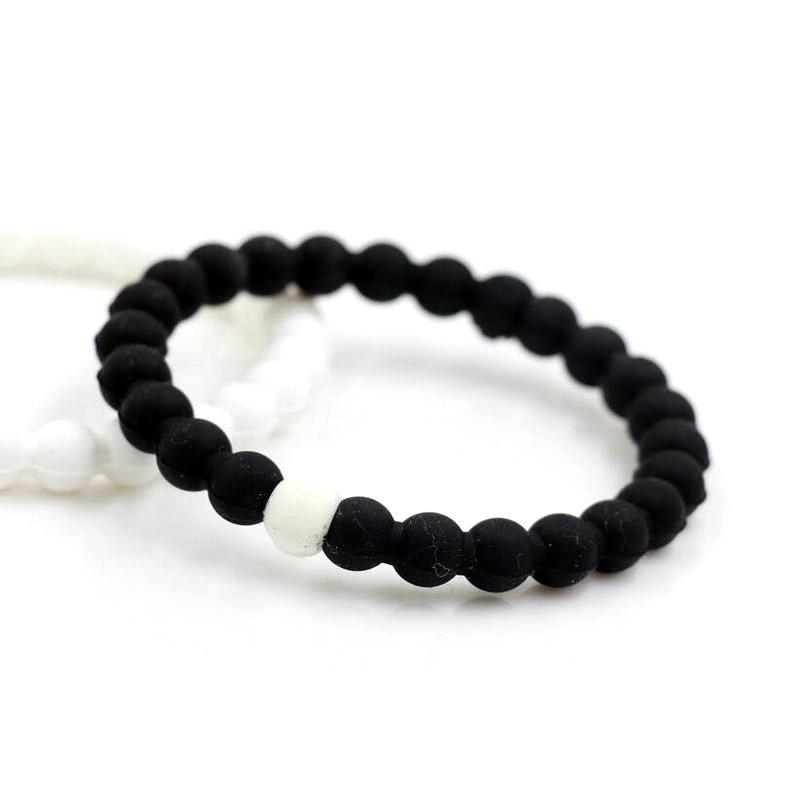 BPPCCR Silicone Black white 2 Color Couples Distance Bracelet Men ...