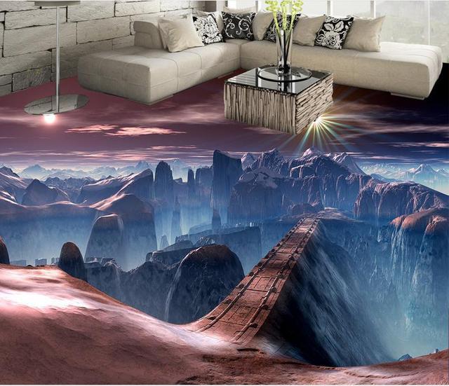 benutzerdefinierte pvc boden 3d landschaft wallpaperscene land br cke 3d boden malerei tapeten. Black Bedroom Furniture Sets. Home Design Ideas