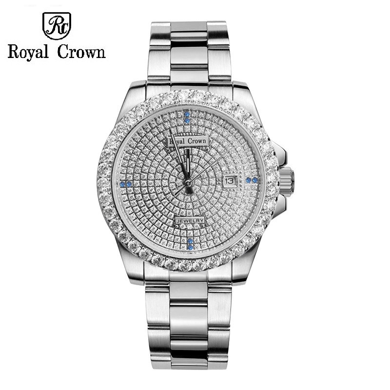 Claw-setting Men's Watch Women's Watch Fine Full Crystal Clock Stainless Steel Bracelet Luxury Lovers' Gift Royal Crown Box claw setting men s watch women s watch sapphire crystal fine clock stainless steel bracelet luxury lovers gift royal crown box