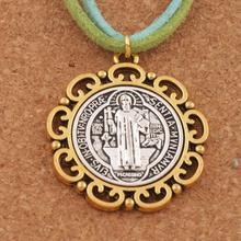 20pcs Flower Saint St Benedict Medal Cross Spacer Charm Beads 2-Tone Pendants 37x33mm T1705