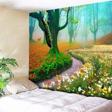 Foggy Forest Tapestry 3D Tree Colored Flower Peacock Decor Hippie Bohemian Tapestries Wall Hanging Blanket Carpets