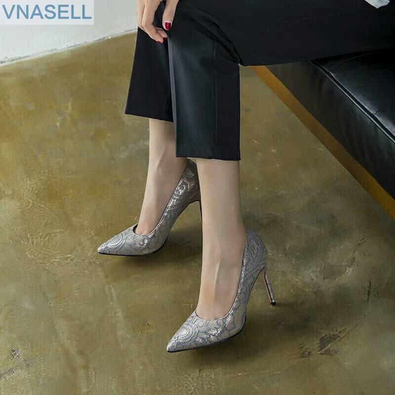 Image 4 - Novo estilo net vermelho elegante apontado stiletto alta com o  couro genuíno cem fósforos na única sapata femininaSapatos femininos