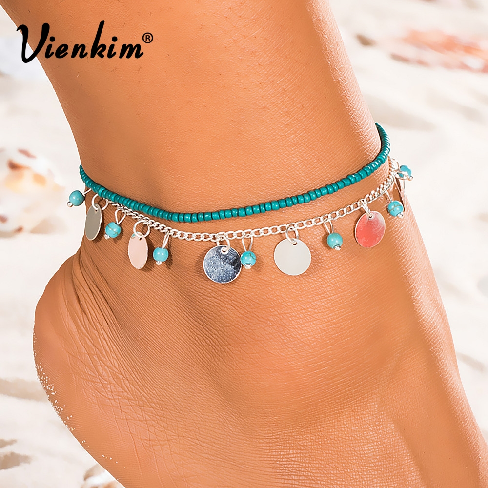 Vienkim 1 PCS Summer Beads Pendant Anklet Foot Chain Ankle Snow Bracelet Charm Leaf Anklet Tassel Beach Vintage Foot Jewelry Gif