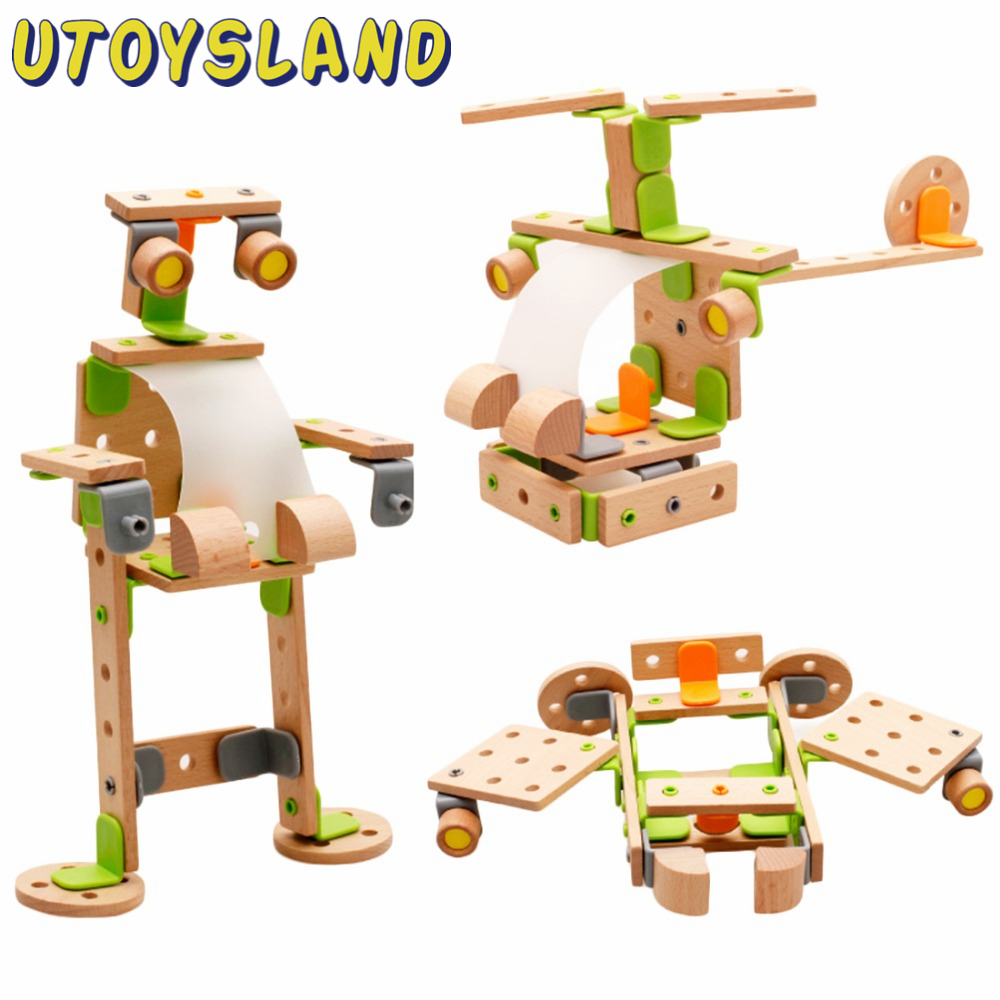 ФОТО utoysland wooden kids toys helicopter changeable building blocks construction assembly educational toy for baby kids children