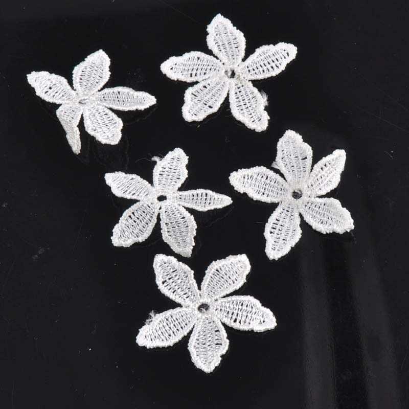 50 stks Mooie bloem Wit Kleur Lace Trim Geborduurde Lint Accessoires Decoratie Naai Guipurekant DIY 40mm cp1142