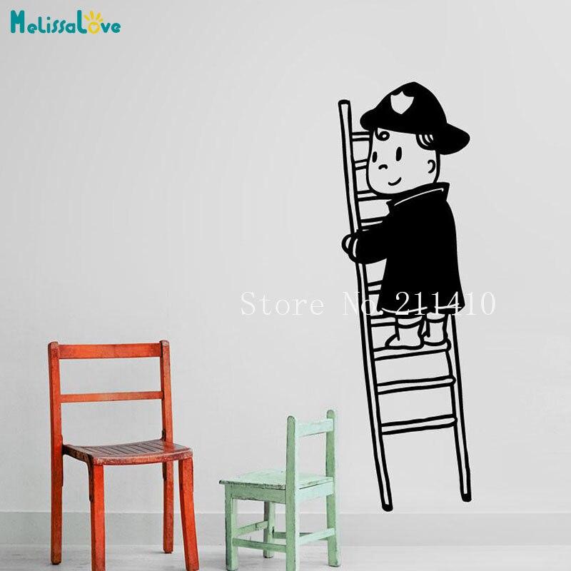 New Design Wall Sticker Hero Fireman Decal Home Decor For Kids Room 3d Self-adhesive Vinyl Nursery Art Murals Gift YY892