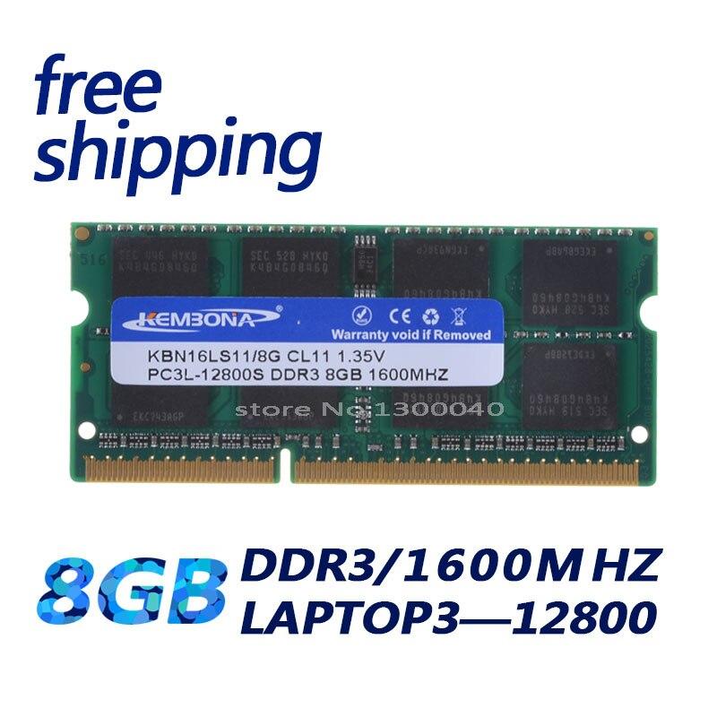 Memória ddr3l ddr3 8 gb 1600 mhz PC3-12800 1.35 v kbn16ls11/8 do portátil do computador de kembona não-ram da memória de intel de sodimm cl11 do ecc