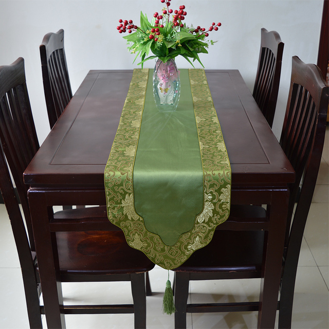 Latest Luxury Decorative Dinner Party Table Runners Silk Brocade Length  Coffee Tablecloth Fashion Bed Runner Multi