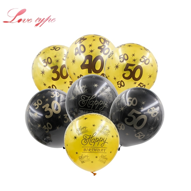 10PCS 12inch Happy Birthday Balloons GoldBlack Printed Age Number Anniversary Home Party Decoration Supplies