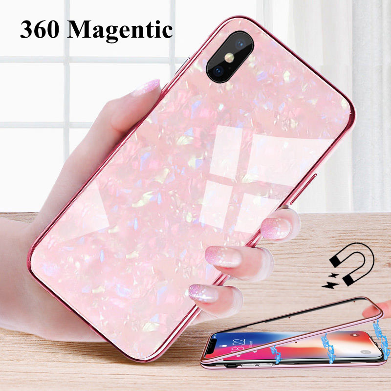 Magnetic Adsorption Case For iphone 6s 6 s plus Cover For iphone X 8 Glass Coque For iphone 7 8 plus XS MAX XR iphone X 10 Case iphone xr case magnetic