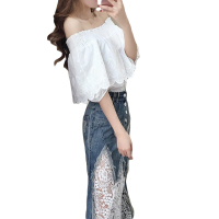 Two Piece Sets Women Summer 2018 Costume Female Pullover Shoulderless Shirt + Lace Long Denim Dress Suits Women Clothing CM2821