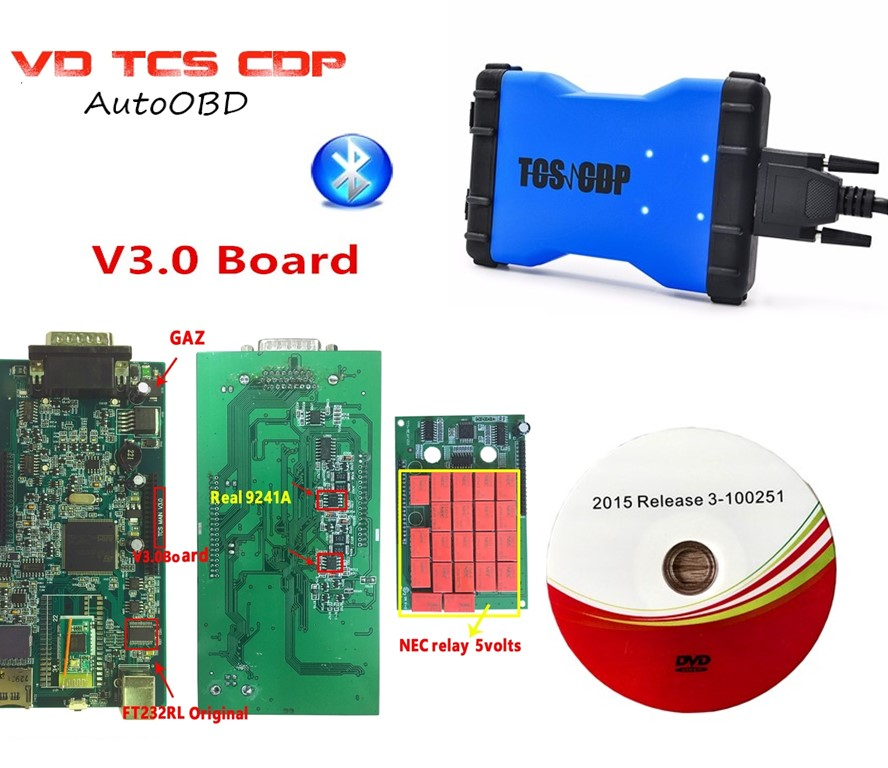 2018 newest VD TCS CDP V3 0 PCB Board with Bluetooth 2015 R3 keygen 3 in