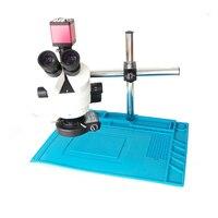 3.5X 45X 7X 45X Trinocular Stereo Microscope+13MP HDMI VGA microscope camera+56 LED Light+Universal bracket+Soldering Mat