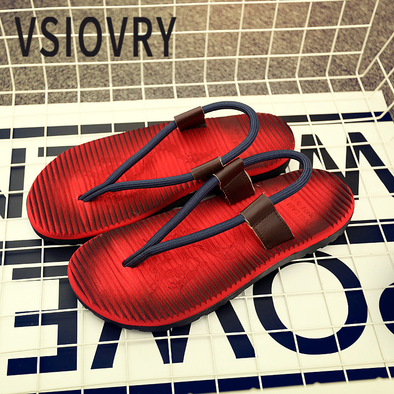 VSIOVRY Summer Men Beach Shoes 2018 Soft Comfortable Lightweight Flat Beach Sandals For Men Outdoor Sandalias