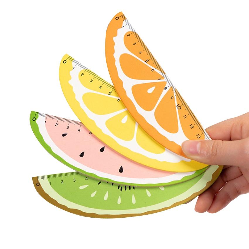 30pcs/lot Korean Cute Cartoon Creative Fresh Fruit Shape Wooden Ruler 15cm4 Selection Natural