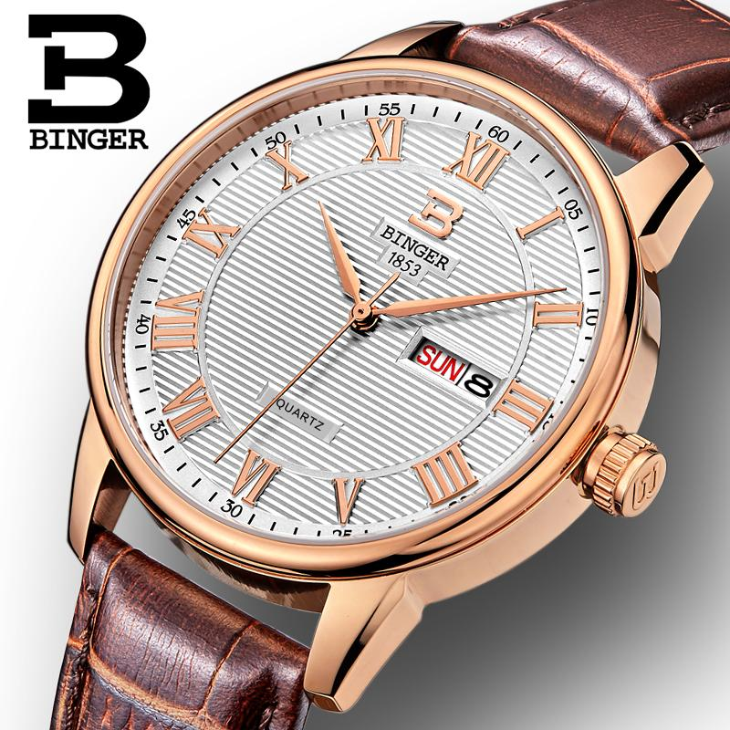 Switzerland watches men luxury brand Wristwatches BINGER ultrathin Quartz watch leather strap Auto Date Waterproof B3037-2 switzerland binger watches women fashion luxury watch ultrathin quartz auto date leather strap wristwatches b3037g 1