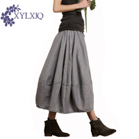 Large Size Jupe 2015 Fashion Spring And Summer Women Cotton Line Long Skirts Art Style Casual