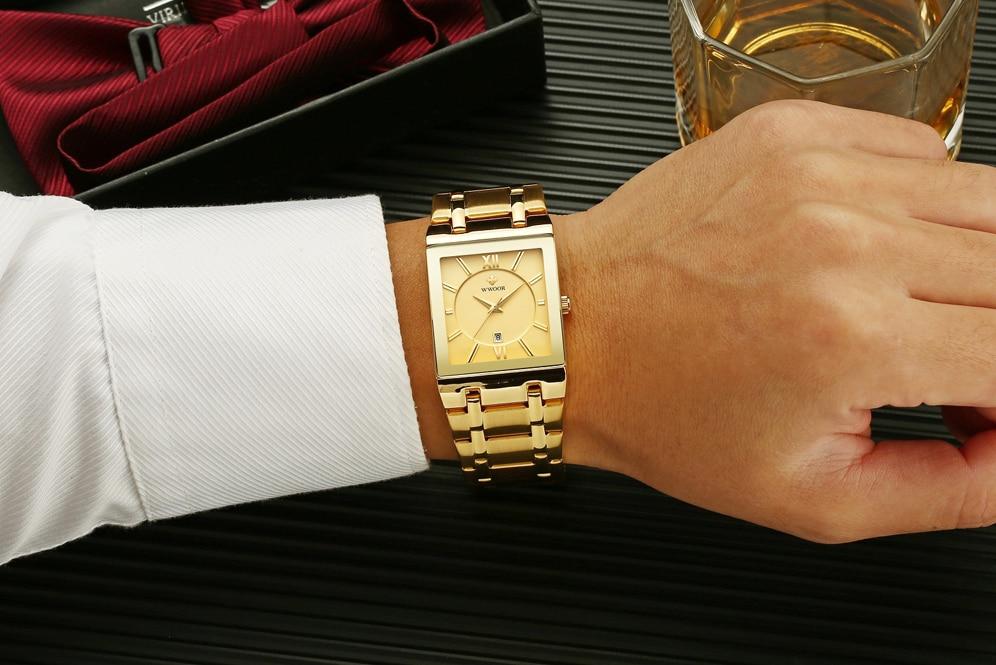 Wwoor relógios masculinos marca de luxo quartzo