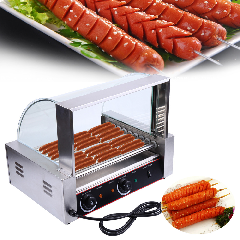 Ship from EU! Portable Stainless 24 Hot Dog 9 Roller Grilling Machine Warmer Hot Dog Maker with Cover