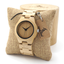 BOBO BIRD Women's Bamboo Wooden Wrist Watch With Full Wood Links Ladies' Unique Casual Quartz Watches
