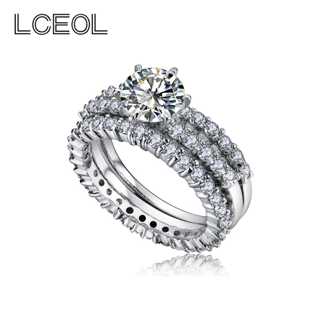 LCEOL Hot Sell High Quality 3 Circles Engagement Rings Sets For ...