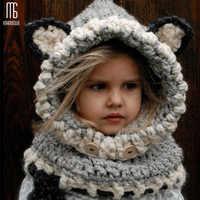 Hiver tricoté épaissir enfants chapeaux hiver snowboard mignon casquette renard laine foulard cagoule drôle bonnet enfant casquette décontractée