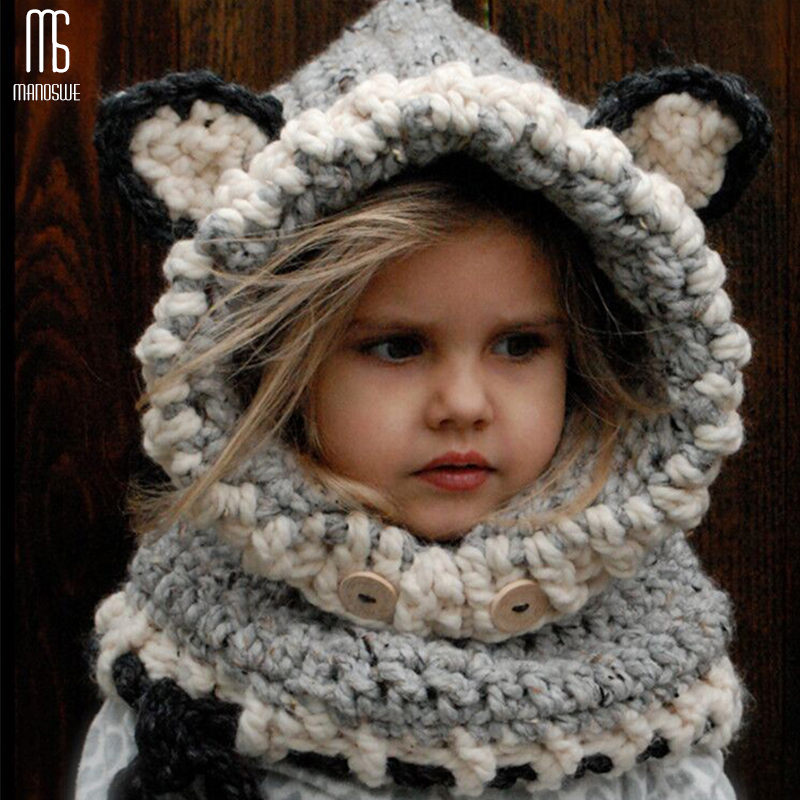 Winter Knitted Thicken Kids Hats Winter Snowboard Cute Cap Fox Wool Neckerchief Balaclava Funny Bonnet Enfant Casual Cap