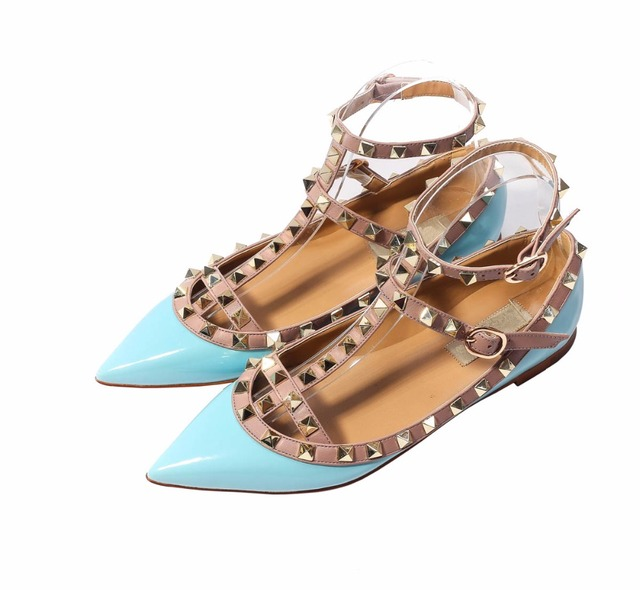 Katypeny Plus Size Women Shoes 2017 Fashion Pointed Toe Ankle Strap Rivets Zapatos Mujer High Quality Genuine Leather Flats
