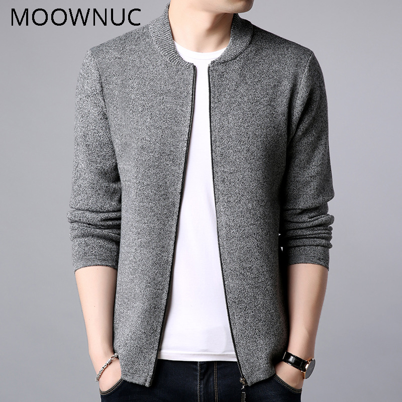 Fashion Sweater Pure Colour Classic Style Men Slim MWC O-Neck Casual Cardigan Autumn Keep Warm Long Sleeves Brank MOOWNUC Winter