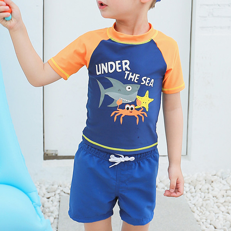 Baby Kids Boys Two Pieces Short Sleeve Surfing Suits Quick Dry Sun Protection Beach Swimsuit Swimwear Bathing Suit
