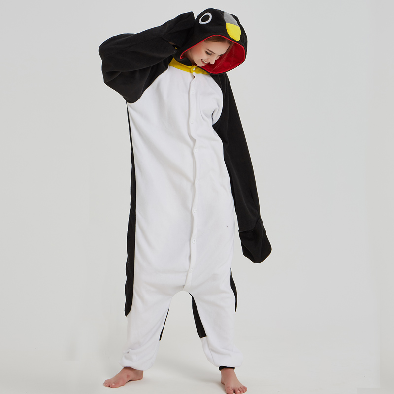 Adorable Black Penguin Kigurumi For Adult Pajamas Warm Polar Fleece Onesie For Halloween One-piece Cute Jumpsuit Cosplay Custome (5)