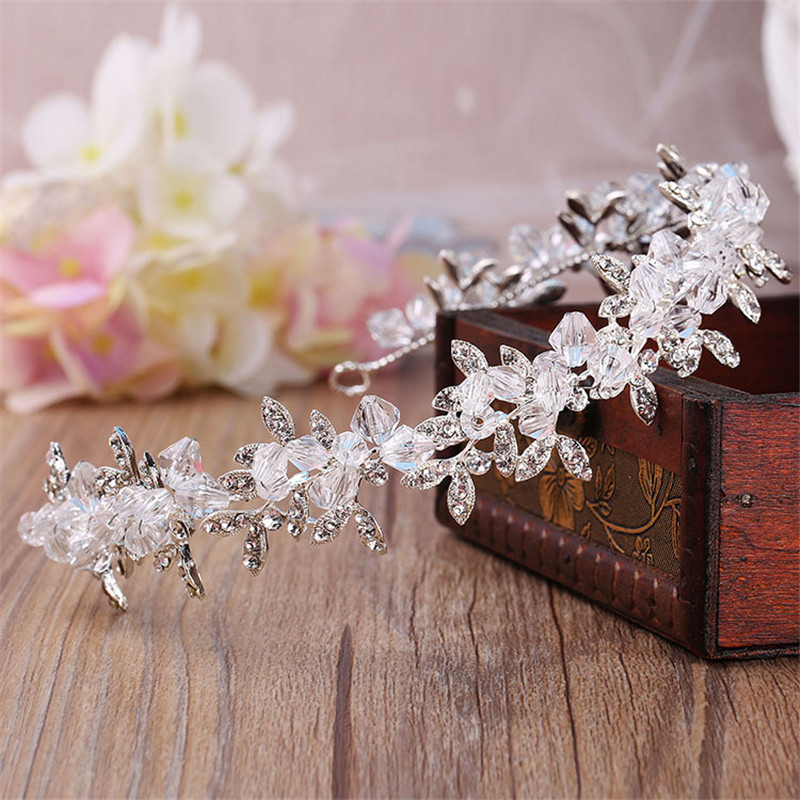 Handmade Clear Crystal and Beads Wedding Tiara Bride headbands Women Prom  Headdress Wedding Bridal Hair Jewelry Accessories 10ee1c67a0bd