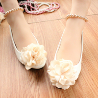 New Beautiful Lace Wedding Shoes Pink Blue Champagne Bridal Shoes Pearls Bandage Women Pumps Prom Party