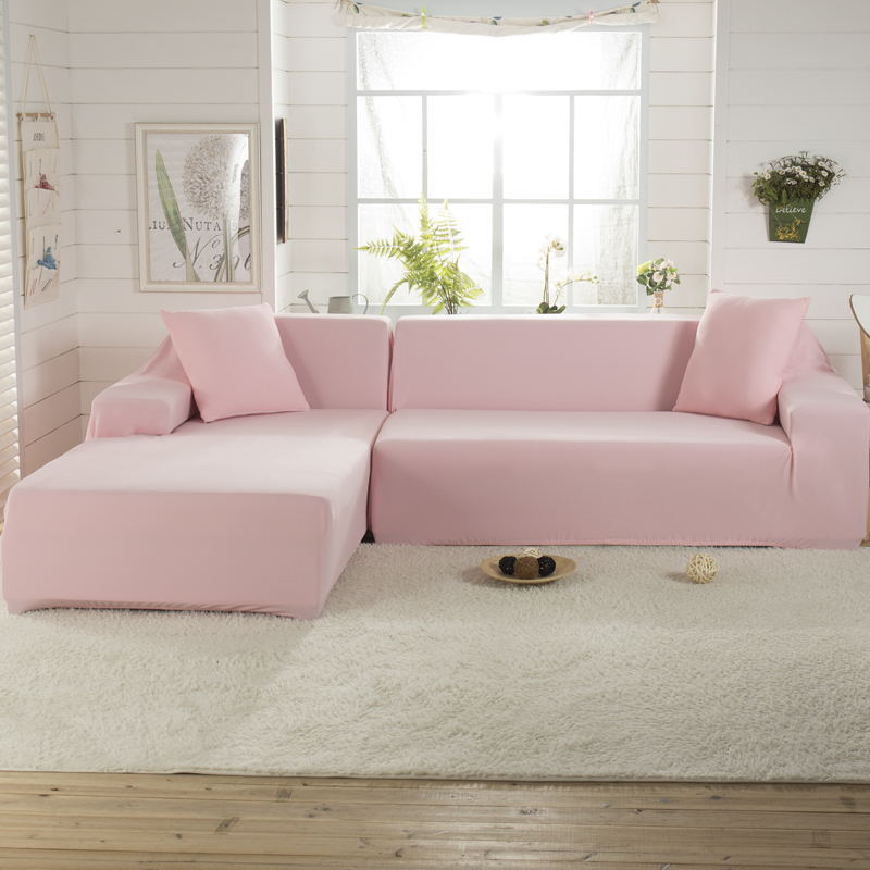 Pink Sofa Cover: Pink Color Sectional Assemble Sofa Cover Couch Stretch