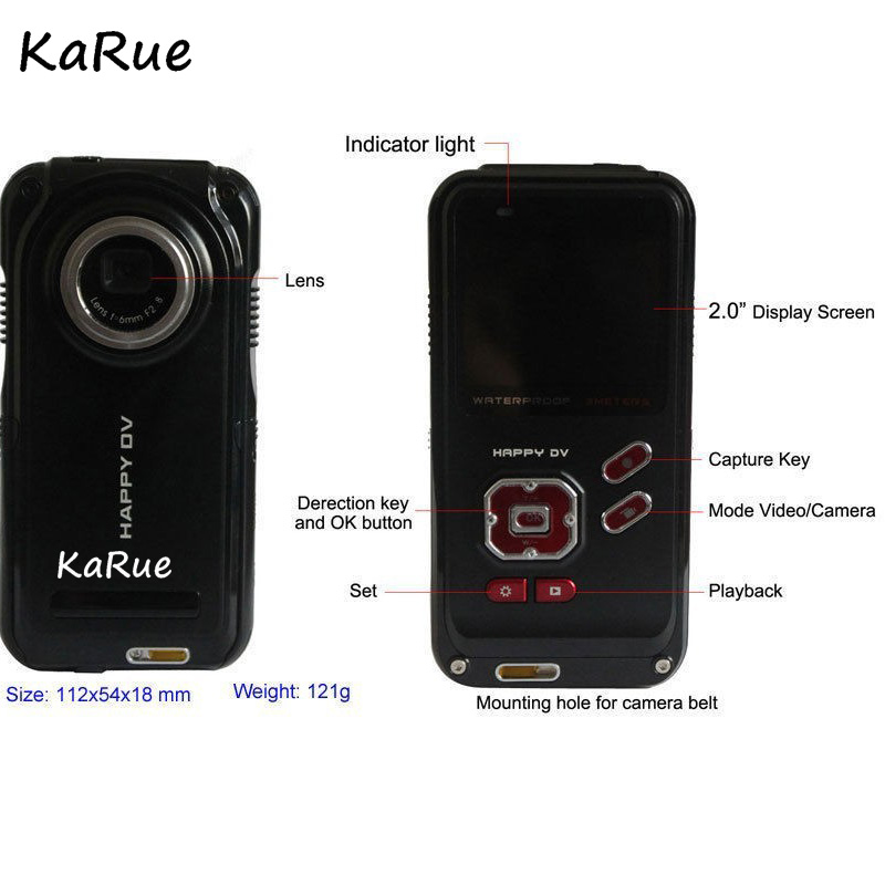 Karue Portable 2.0 Inch Digital Camera Camcorders Home-use DV Rotating LCD Screen Point Shoot Camera 16 million Mini Micro Cam