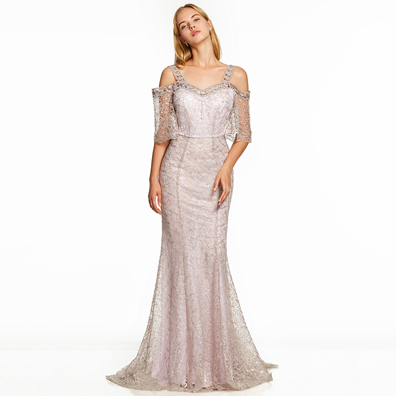 Image 3 - Dressv pink a line long evening dress backless cheap straps half sleeves wedding party formal dress lace evening dresses-in Evening Dresses from Weddings & Events