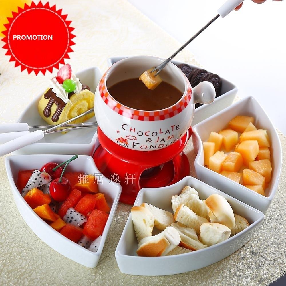 Us 75 0 50 Off Free Shipping Fondue Pot Chocolate Pots Set Icecream Hot Pot Cute Romance Kitchen Utensil Ceramic Sweet Food Fondue Cheese Pot In