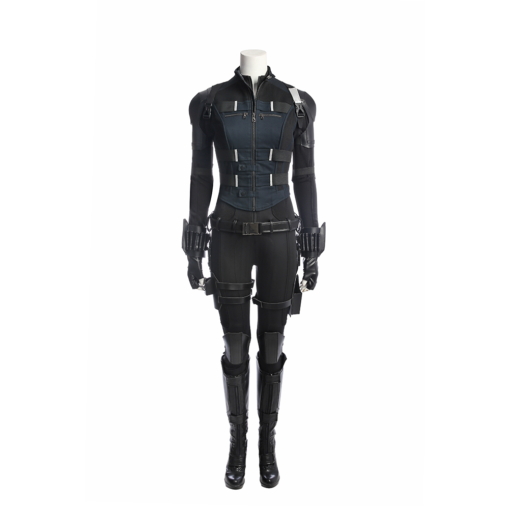 Infinity Perang Kostum Set Black Widow Avengers Romanova Natasha Bra Wanita Sexy Transparan Metalik 8302 Zentai