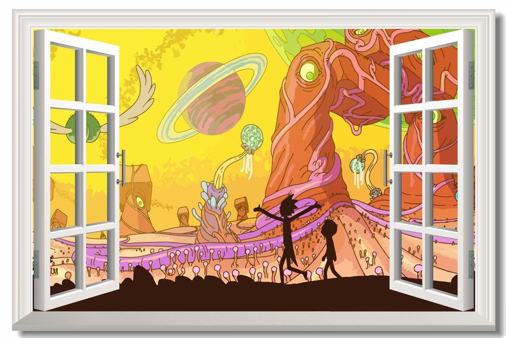 Us 575 28 Offcustom Canvas Wall Decor Rick Morty Poster Rick And Morty Wallpaper 3d Window Sticker Murals Living Room Wall Paintings 0146 In