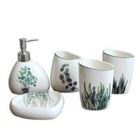 IALJ Top Nordic Green Plant Ceramic Bathroom Products Simple Five Piece Wedding Bath Set Bathroom Ceramic Set