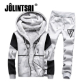 Jolintsai Winter Fleece Tracksuit Men 2017 Hoodie&Sweatshirt+Pants Moleton Masculino Sportwear Men Plus Size 5XL Hoodies Set