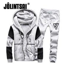 Jolintsai зимние комплекты из двух предметов флис спортивный костюм мужской 2017 толстовка + брюки спортивные костюм мужчины плюс размер 5XL толстовки комплект